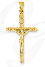 14K Large Crucifix Pendant Hollow