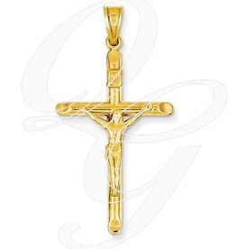 14K Large Crucifix Pendant Hollow