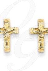 14K Crucifix Post Earrings