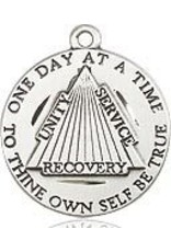 """Bliss Manufacturing Sterling Silver One Day at a Time Recovery Medal on 24"""" Heavy Curb Chain"""