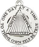 "Bliss Manufacturing Sterling Silver One Day at a Time Recovery Medal on 24"" Heavy Curb Chain"