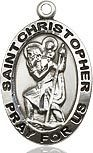Bliss Manufacturing Sterling Silver St. Christopher Pendant on a 24 inch Stainless Silver Light Curb Chain