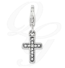 Swarovski Cross Clip Charm in Sterling Silver