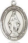 "Bliss Manufacturing Sterling Silver Miraculous Medal Oval 18"" Light Curb Chain"