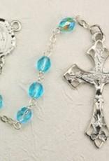 6mm Aqua Glass Bead Rosary