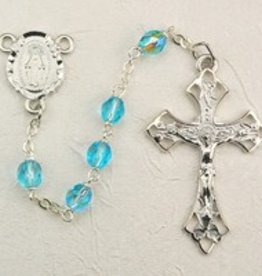 6mm Aqua Glass Bead Rosary