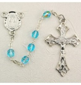 McVan 6mm Aqua Glass Bead Rosary