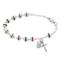6mm Multicolor Silver Filigree Bracelet