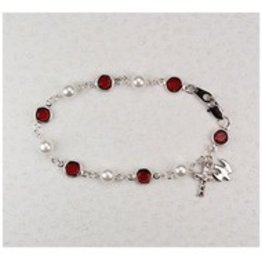 "McVan 7.5"" Red Bead and Pearl Holy Spirit Bracelet"