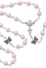 McVan 5mm pink pearl butterfly communion rosary