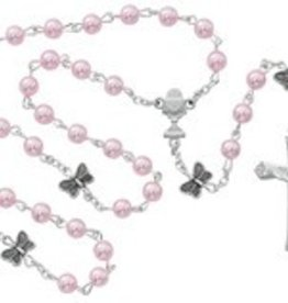 5mm pink pearl butterfly communion rosary