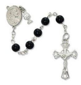 Devon 6mm Black Glass Bead Communion Rosary