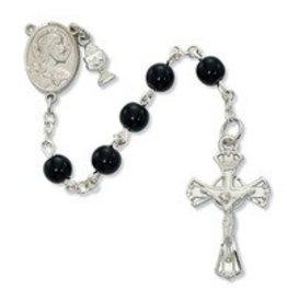 Devon Trading Company 6mm Black Glass Bead Communion Rosary