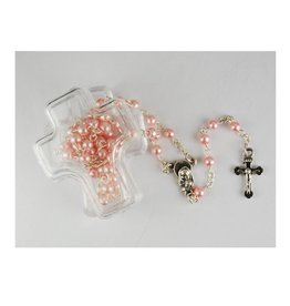 McVan Pink Pearl Rosary In Cross Box