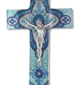 "WJ Hirten 10"" Light Aqua Glass Crucifix with Pewter Corpus"