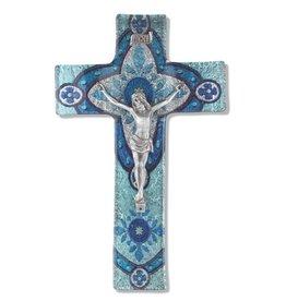 "WJ Hirten 10"" Light Aqua Glass Crucifix with Pewter Corpus"