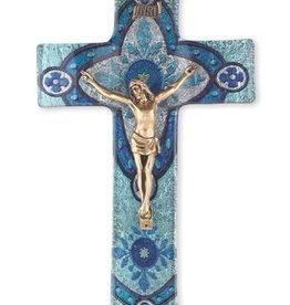 "WJ Hirten 10"" Light Aqua Glass Crucifix with Gold Corpus"