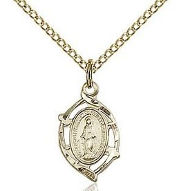 "Bliss Manufacturing Gold Filled Miraculous Medal on 18"" Chain"