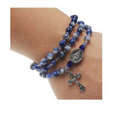 Blue Lapis Twistable Rosary Bracelet