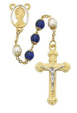 8MM Blue and Capped Pearl Rosary with Box