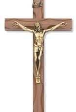 "McVan 10"" Carved Walnut Crucifix with Antique Bronze Corpus"