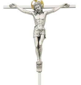"McVan 10"" Silver Toned Crucifix with Gold Toned Halo"
