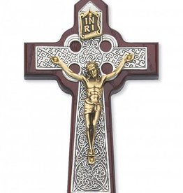 "McVan 7"" Cherry Celtic Silver and Gold Toned Crucifix"