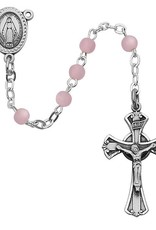 3MM Pink Glass Rosary