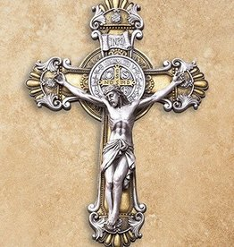 "Avalon Gallery St. Benedict Ornate Wall Crucifix 10.25"""
