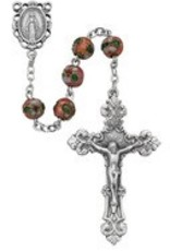 8MM PINK RD CLOISSONE ROSARY