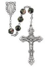 8MM BLK REAL CLOISONE ROSARY