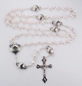 Pink Pearl Shell Baptism Rosary with Box