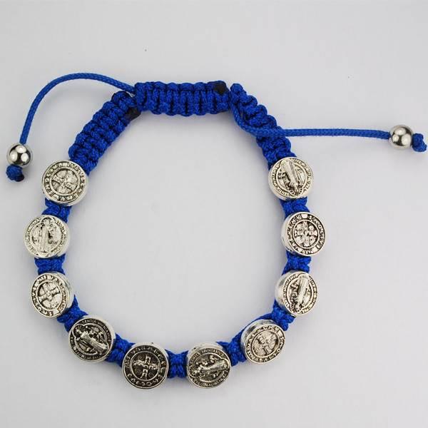 Blue St. Benedict Adjustable Cord Bracelet