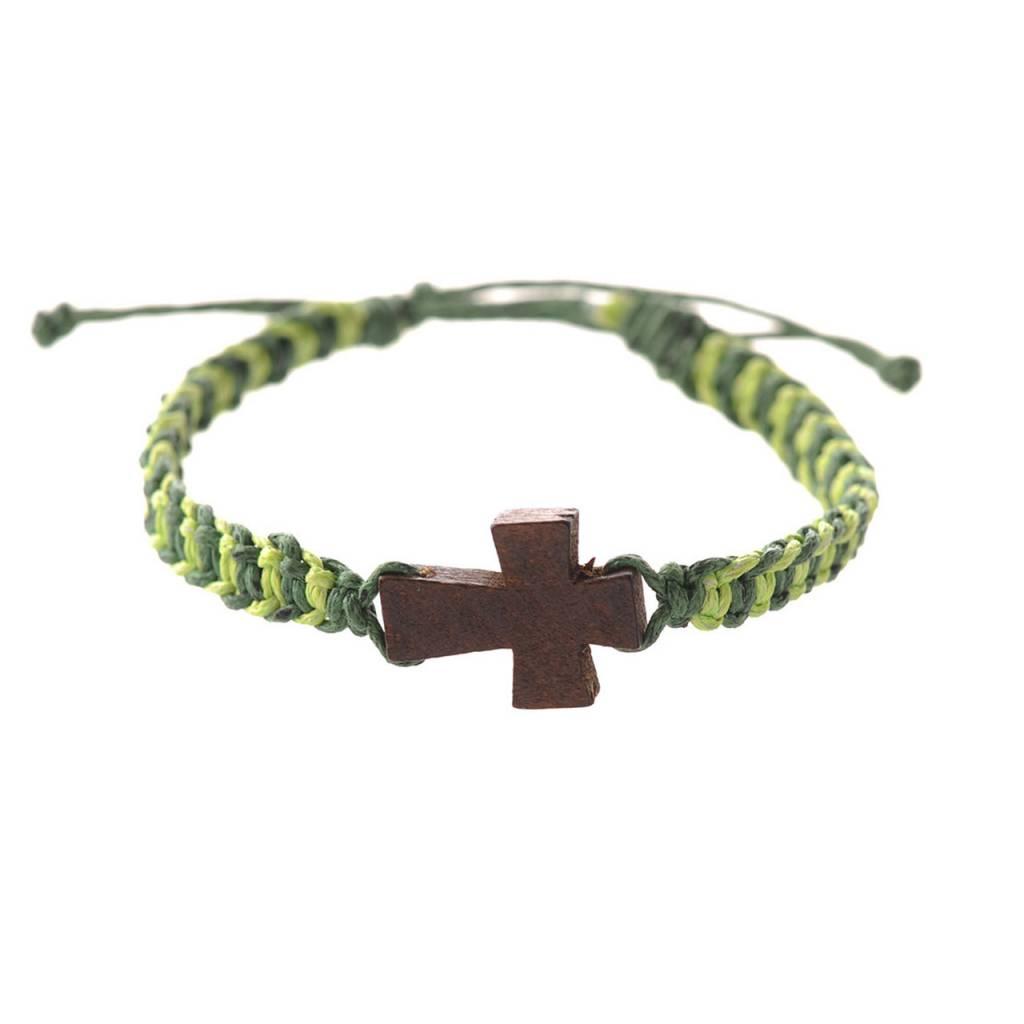 GREEN CORDED CROSS BRACELET
