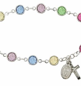 "McVan 7.5"" Multi-Color Austrian Crystal Beads with Rhodium Plated Crucifix & Miraculous Medal"