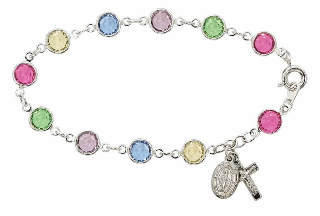 """7.5"""" Multi-Color Austrian Crystal Beads with Rhodium Plated Crucifix & Miraculous Medal"""