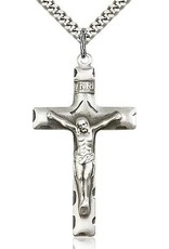 Bliss Manufacturing Sterling Silver Crucifix Pendant on a 30 inch  Heavy Curb Chain