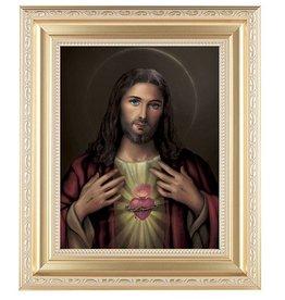 "WJ Hirten 11"" x 13"" Sacred Heart of Jesus with Gold Frame"