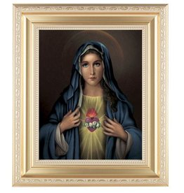 """WJ Hirten 11"""" x 13"""" Immaculate Heart of Mary with Gold Frame"""