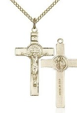 "Gold Filled St. Benedict Crucifix Pendant with 18"" chain"