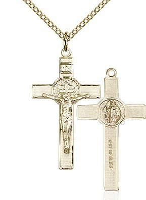 """Bliss Manufacturing Gold Filled St. Benedict Crucifix Pendant with 18"""" chain"""