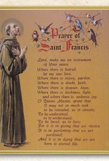 "8"" x 10"" Gold Framed Everlasting Plaque, Clear Lamination ST FRANCIS W/ PRAYER 8 X 10"