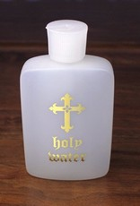 4-OZ Plastic Holy Water Bottle with Gold Lettering