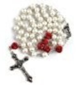 6mm Glass Pearl Rosary with Rose Beads and Lourdes Center