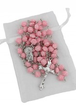 7mm Pink Rose Shaped Bead Rosary