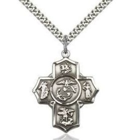 """5 Way Marine Medal with 24"""" Heavy Curb Chain"""