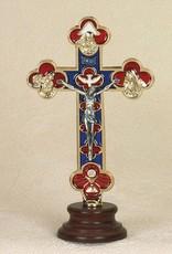 Lumen Mundi Trinity Cross - Gold Tone Enamel on Wood Base