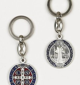 St. Benedict Dark Blue Enameled Token Keychain