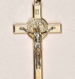 "Lumen Mundi 3.5"" Gold Tone St. Benedict Cross with Cord"