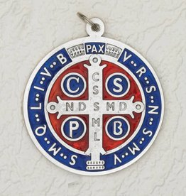 "Lumen Mundi 4"" Silver Tone with Dark Blue/Red Enamel Premium St. Benedict Medal"